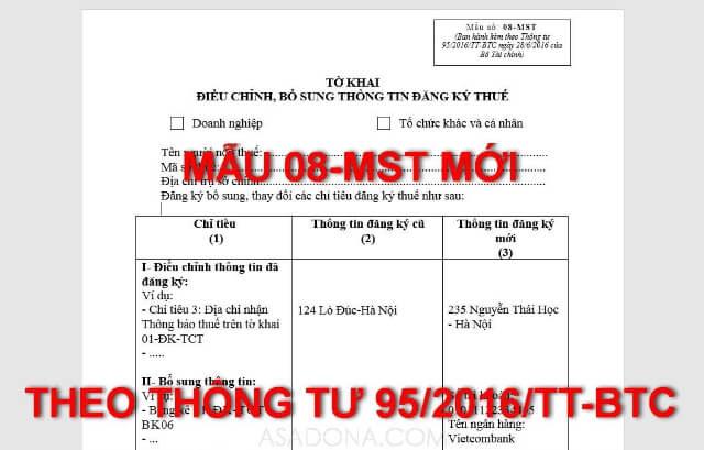 mẫu 08- mst (thông tư 95/2016/tt-btc)